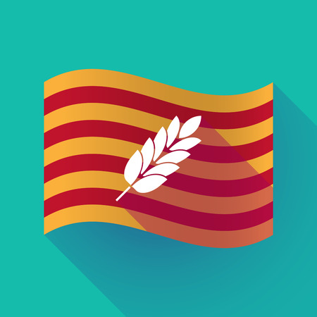 Illustration of a long shadow waving Catalonia flag with  a wheat plant icon Illustration