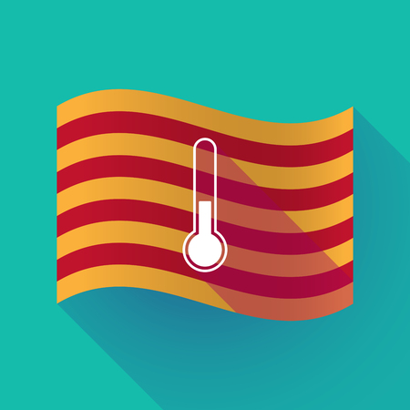Illustration of a long shadow waving Catalonia flag with  a thermometer icon