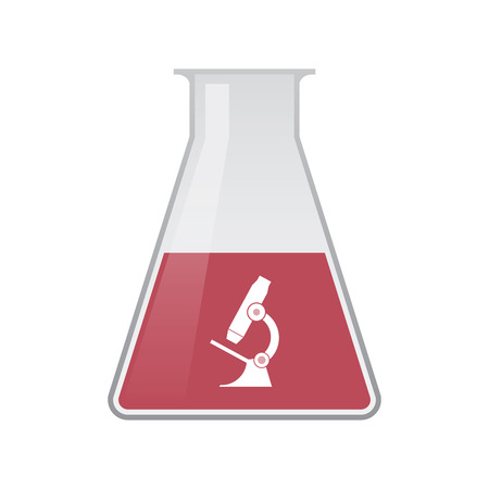 Illustration of an isolated chemical flask with  a microscope icon