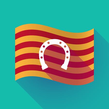 Illustration of a long shadow waving Catalonia flag with  a horseshoe sign 版權商用圖片 - 82684230