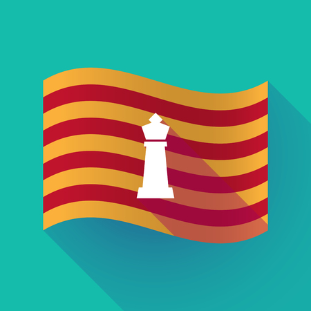 Illustration of a long shadow waving Catalonia flag with a  king   chess figure Illustration