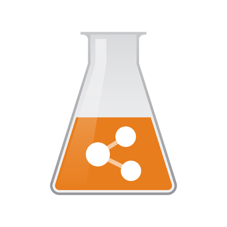 Illustration of an isolated chemical flask with  a network sign Illustration