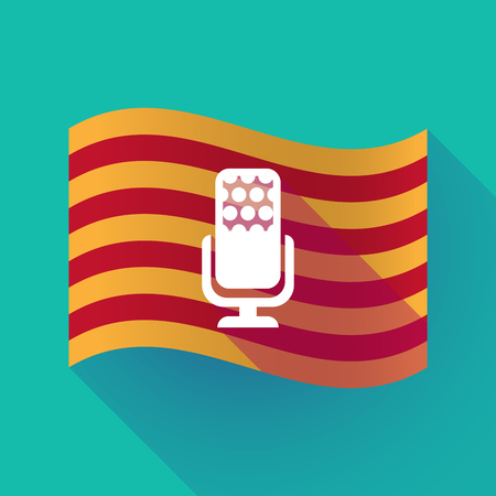 Illustration of a long shadow waving Catalonia flag with  a microphone sign Illustration
