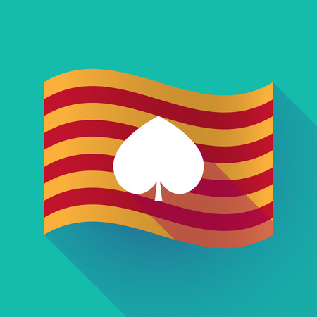 Illustration of a long shadow waving Catalonia flag with  the  spade  poker playing card sign