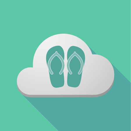 Illustration of a long shadow cloud with   a pair of flops