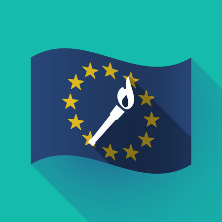 Illustration of a long shadow waving European Union flag with  a torch icon Illustration