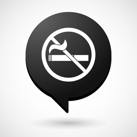 Illustration of an isolated comic balloon with  a no smoking sign Illustration
