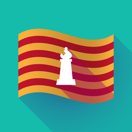 Illustration of a long shadow waving Catalonia flag with a bishop    chess figure