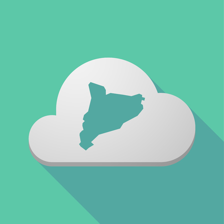 Illustration of a long shadow cloud with  the map of Catalonia