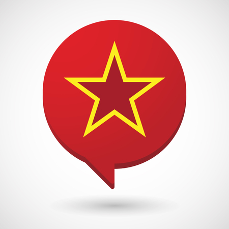 Illustration of an isolated comic balloon with  the red star of communism icon Ilustracja