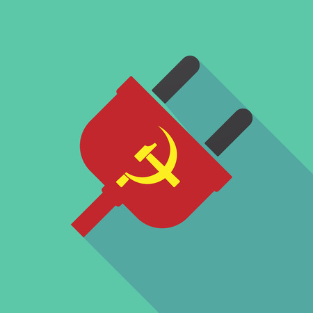 Illustration of a long shadow plug with  the communist symbol