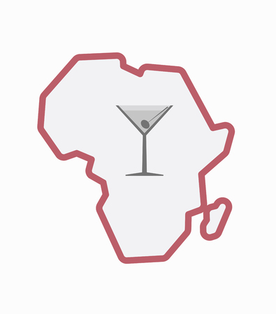 Illustration of an isolated line art Africa continent map with a cocktail glass