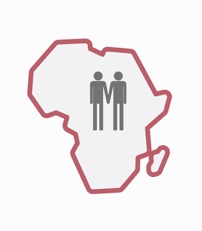 Illustration of an isolated line art Africa continent map with a gay couple pictogram