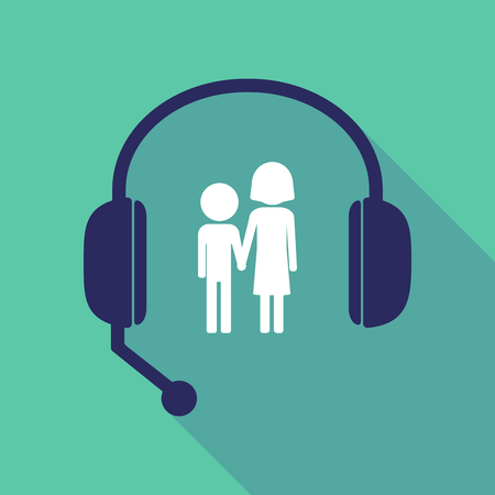 Illustration of a long shadow hands free headset with a childhood pictogram Illustration