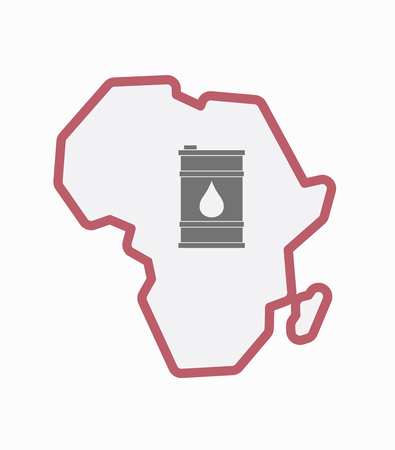 oil drum: Illustration of an isolated line art Africa continent map with a barrel of oil