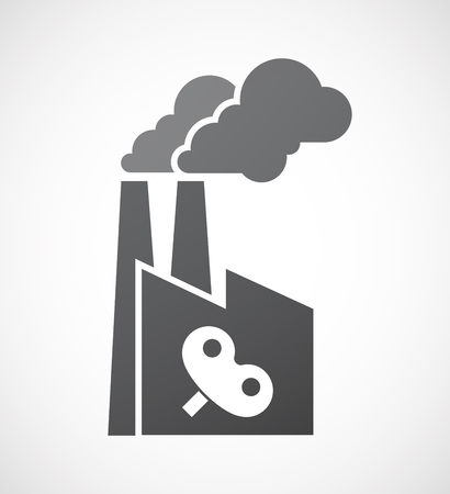 Illustration of an isolated factory with a toy crank