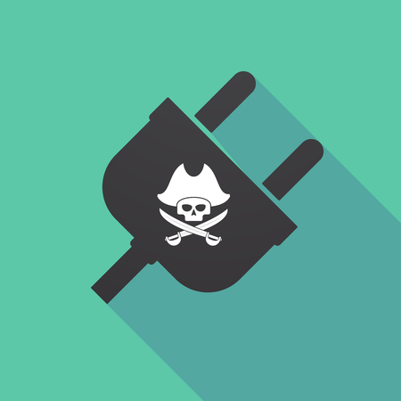 Illustration of a long shadow plug with a pirate skull