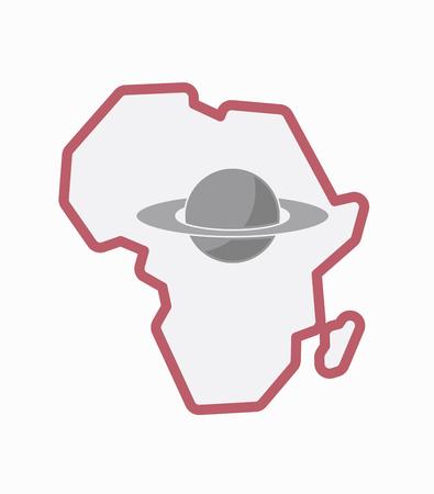 Ilustración de un arte de línea aislado Mapa continente de África con el planeta Saturno