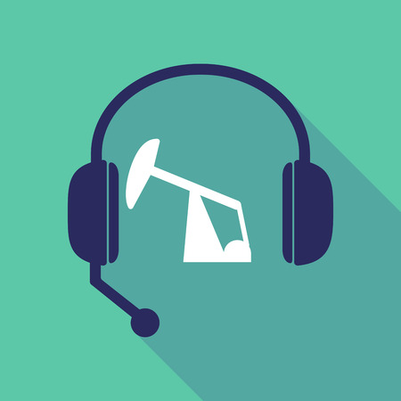 Illustration of a long shadow hands free headset with a horsehead pump Stock Vector - 82994905