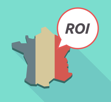 Illustration of a long shadow France map with a comic balloon and    the return of investment acronym ROI