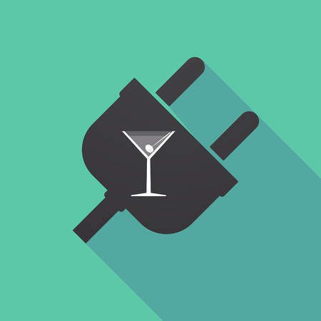 Illustration of a long shadow plug with a cocktail glass