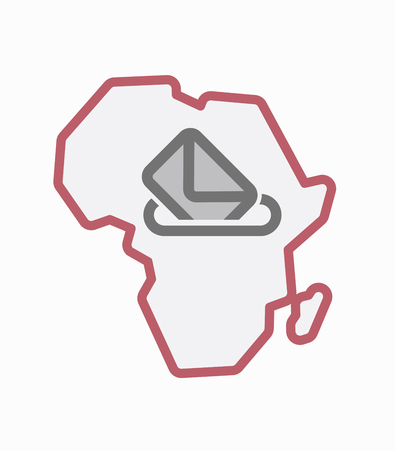 referendum: Illustration of an isolated line art Africa continent map with  a ballot box