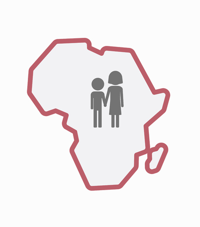 Illustration of an isolated line art Africa continent map with a childhood pictogram