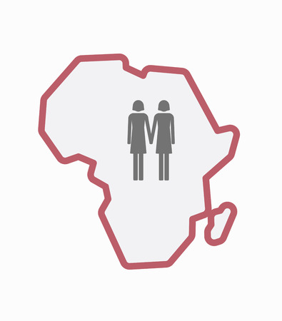 Illustration of an isolated line art Africa continent map with a lesbian couple pictogram