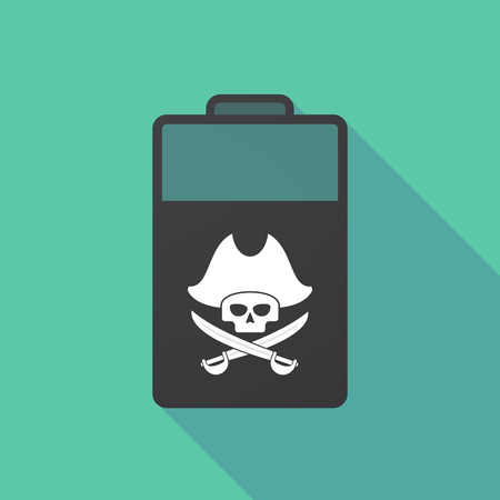Illustration of a long shadow battery with a pirate skull Stock Vector - 82995362