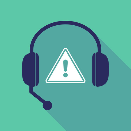 Illustration of a long shadow hands free headset with a warning signal