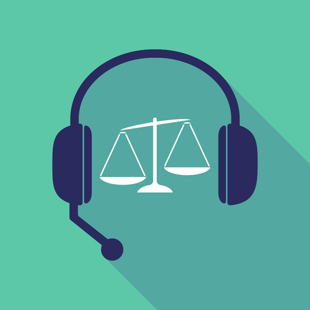 scale of justice: Illustration of a long shadow hands free headset with  an unbalanced weight scale