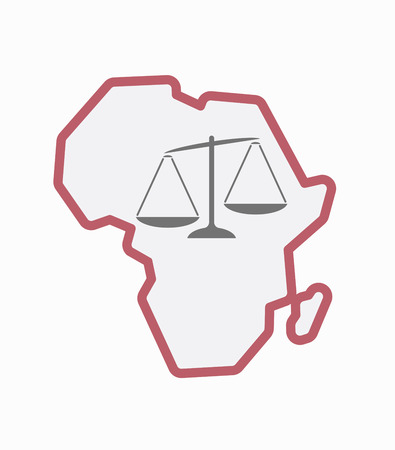 Illustration of an isolated line art Africa continent map with  an unbalanced weight scale Çizim