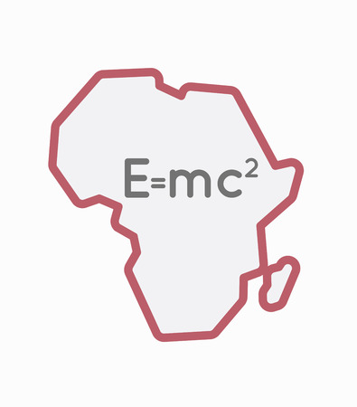 Illustration of an isolated line art Africa continent map with the Theory of Relativity formula