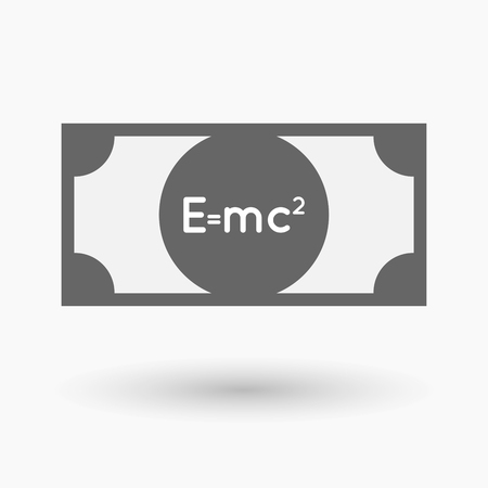 Illustration of an isolated bank note with the Theory of Relativity formula