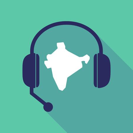 Illustratie van een lange schaduw handsfree headset met een kaart van India