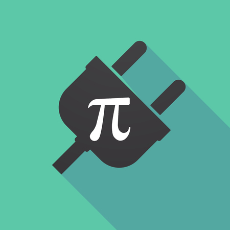 equation: Illustration of a long shadow plug with the number pi symbol
