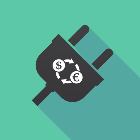 Illustration of a long shadow plug with a dollar euro exchange sign Illustration
