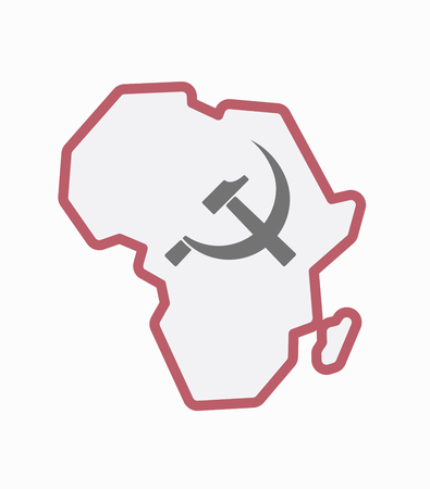 Illustration of an isolated line art Africa continent map with  the communist symbol Illustration