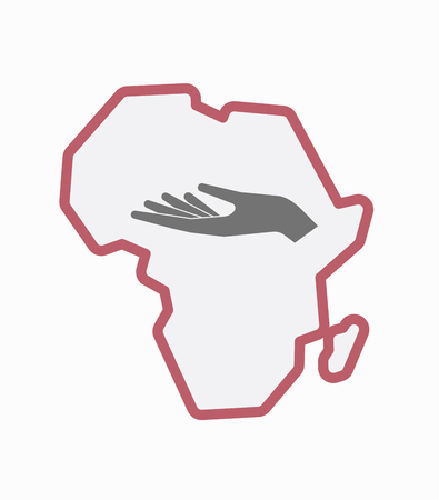 Illustration of an isolated line art Africa continent map with a hand offering