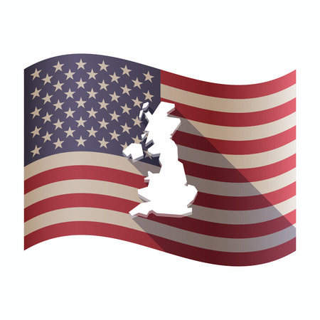 ireland flag: Illustration of an isolated waving United States of America flg with  a map of the UK Illustration