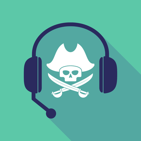 Illustration of a long shadow hands free headset with a pirate skull