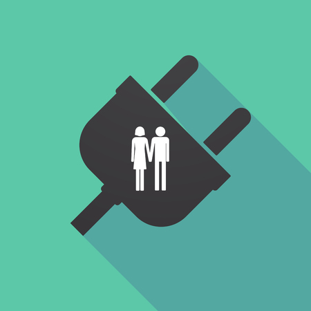 Illustration of a long shadow plug with a heterosexual couple pictogram