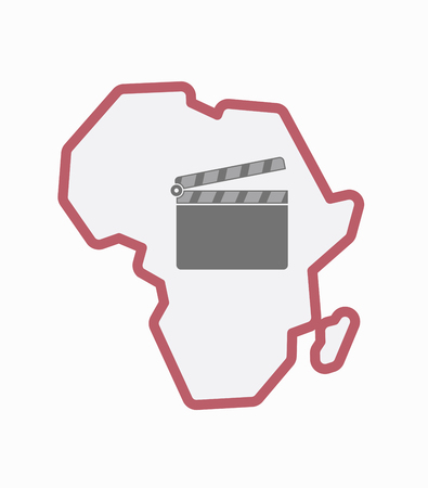 Illustration of an isolated line art Africa continent map with a clapperboard Imagens - 83012985