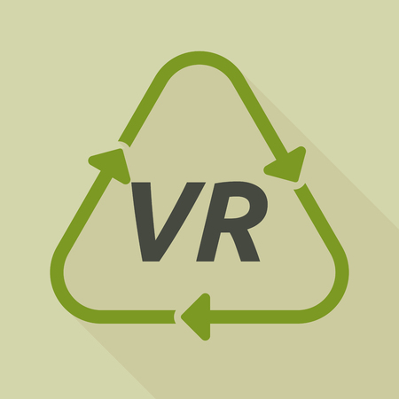 Illustration of a long shadow line art recycle sign with    the virtual reality acronym VR Illustration