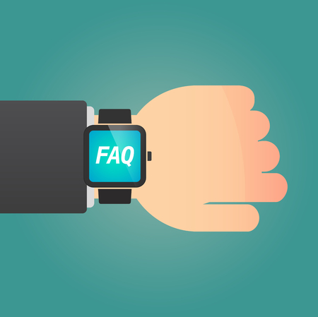 Hand with a long shadow smart watch with    the text FAQ