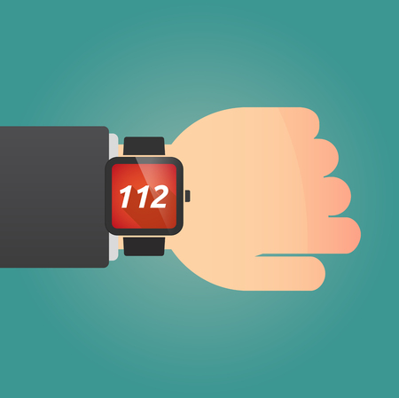 hotline: Hand with a long shadow smart watch with    the text 112
