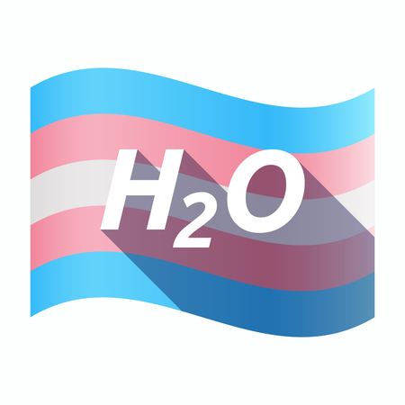 transexual: Illustration of an isolated long shadow transgender flag with    the text H2O