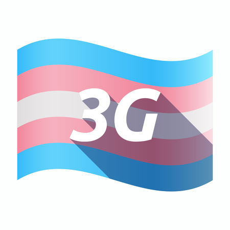 3g: Illustration of an isolated long shadow transgender flag with    the text 3G Illustration