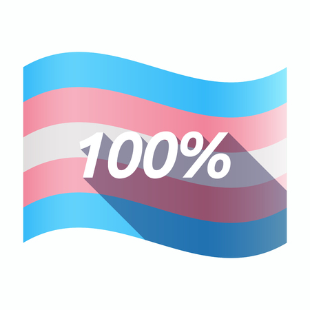 Illustration of an isolated long shadow transgender flag with    the text 100%