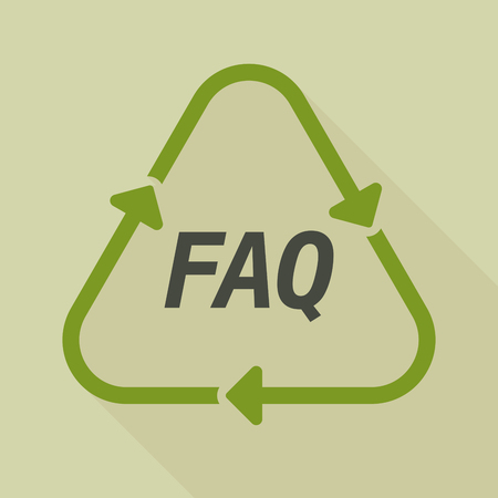 Illustration of a long shadow line art recycle sign with    the text FAQ